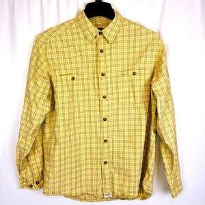 Eddie Bauer Men's Sz M Dress Shirt Yellow Plaid